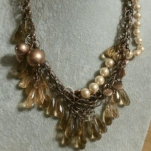 J. Crew Copper Pearl & Crystal Statement necklace